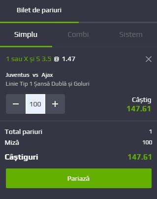 pont pariuri Juventus vs Ajax Amsterdam