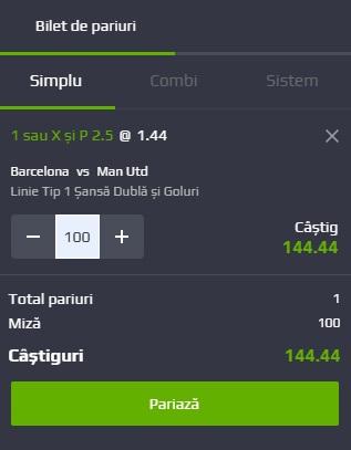 pont pariuri Barcelona vs Manchester United