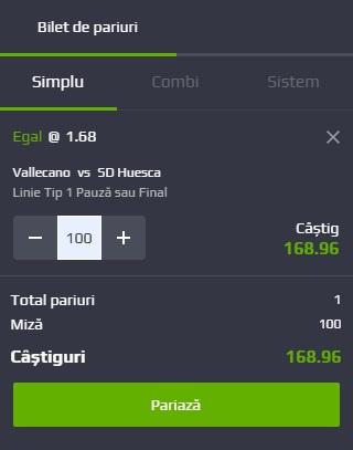pont pariuri Rayo Vallecano vs Huesca