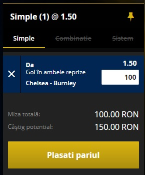 pont pariuri Chelsea vs Burnley