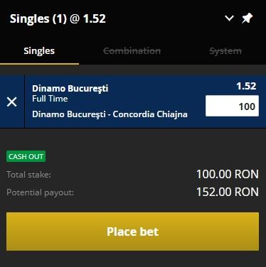 pont pariuri Dinamo vs Concordia Chiajna