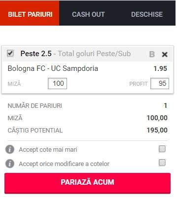pont pariuri Bologna vs Sampdoria