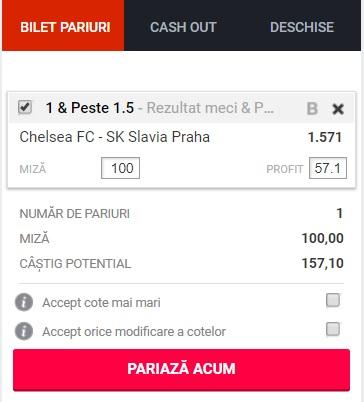 pont pariuri Chelsea vs Slavia Praga