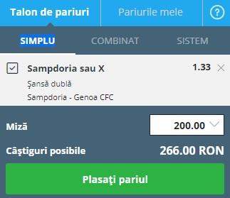 pont pariuri Sampdoria vs Genoa