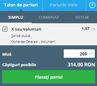pont pariuri Dunărea Călărași vs FC Voluntari