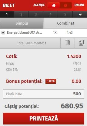 pont pariuri Energeticianul vs UTA Arad