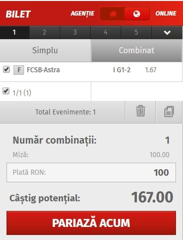 pont pariuri FCSB vs Astra Giurgiu