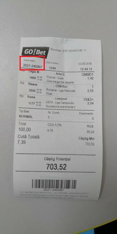 verificarea biletului la gobet