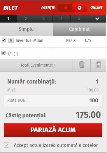 pont pariuri Juventus vs AC Milan