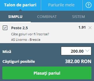 pont pariuri Livorno vs Brescia