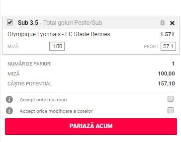 pont pariuri Olympique Lyon vs Rennes