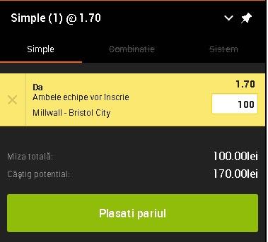 pont pariuri Millwall vs Bristol City