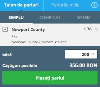 pont pariuri Newport vs Oldham