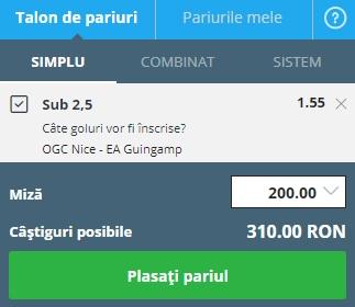 pont pariuri Nice vs Guingamp