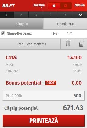 pont pariuri Nimes vs Bordeaux