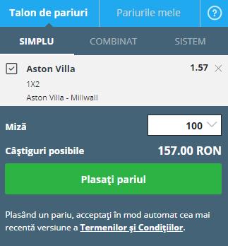 pont pariuri Aston Villa - Millwall