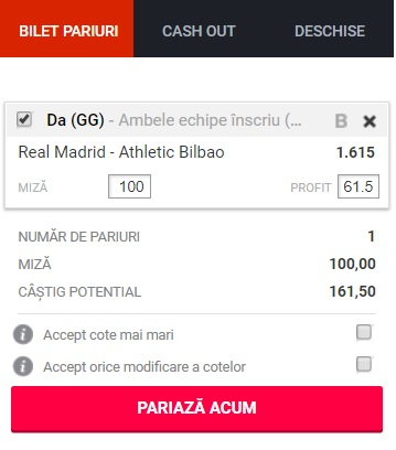 pont pariuri Real Madrid vs Athletic Bilbao