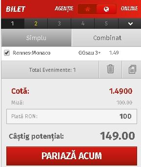 pont pariuri Rennes vs Monaco