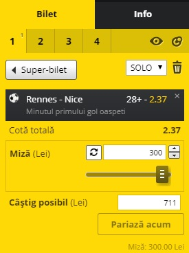 pont pariuri Rennes vs Nice