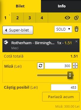 pont pariuri Rotherham vs Birmingham
