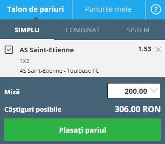 pont pariuri Saint-Etienne vs Toulouse
