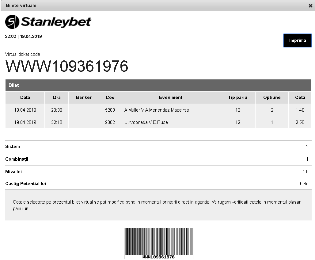bilet virtual stanleybet