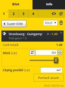 pont pariuri Strasbourg vs Guingamp