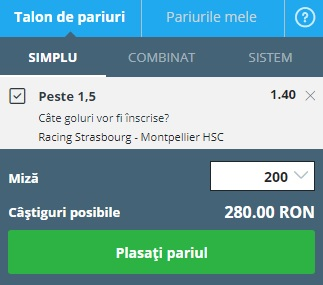pont pariuri Strasbourg vs Montpellier