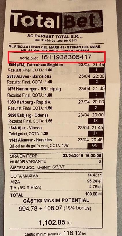 Bilet pariuri Total Bet