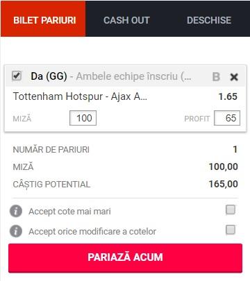 pont pariuri Tottenham vs Ajax Amsterdam