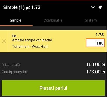 pont pariuri Tottenham vs West Ham