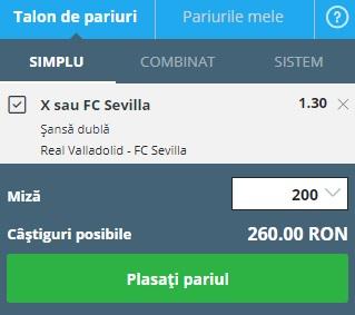 pont pariuri Valladolid vs Sevilla