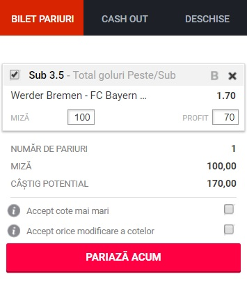 pont pariuri Werder Bremen vs Bayern