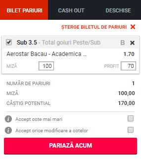 pont pariuri Aerostar Bacau vs Academica Clinceni