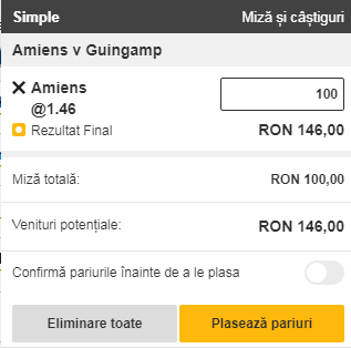 pont pariuri Amiens vs Guingamp
