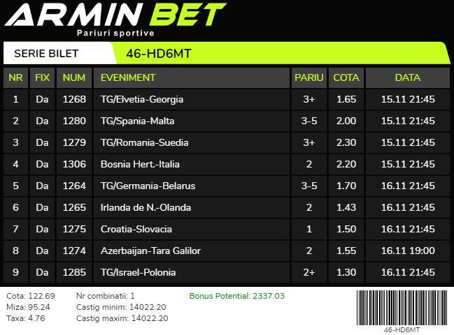 Arminbet - Bilet Cotă Mare pariuri