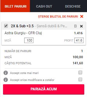 pont pariuri Astra Giurgiu vs CFR Cluj