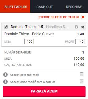 pont pariuri Dominic Thiem vs Pablo Cuevas