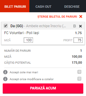 pont pariuri FC Voluntari vs Politehnica Iasi