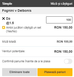 pont pariuri Fabio Fognini vs Federico Delbonis