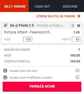 pont pariuri Fortuna Sittard vs Feyenoord