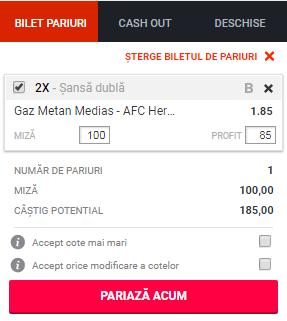 pont pariuri Gaz Metan Medias vs FC Hermannstadt