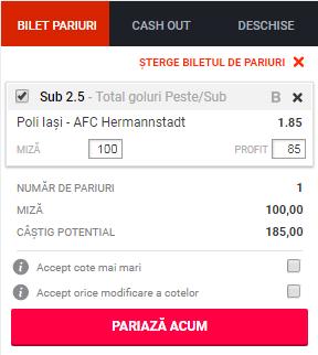 pont pariuri Politehnica Iasi vs FC Hermannstadt