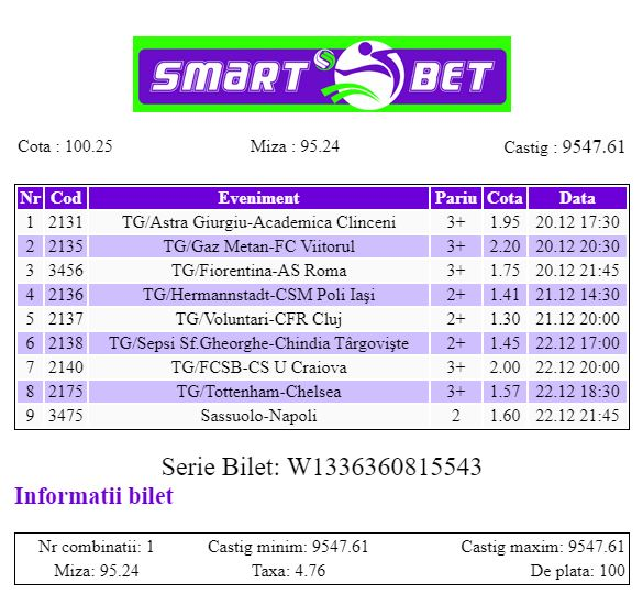Smart Bet - Bilet Cotă Mare pariuri