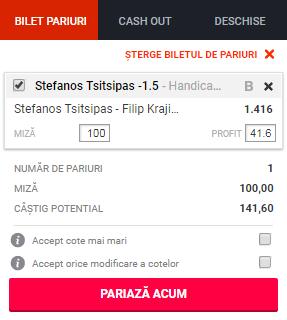 pont pariuri Stefanos Tsitsipas vs Filip Krajinovic