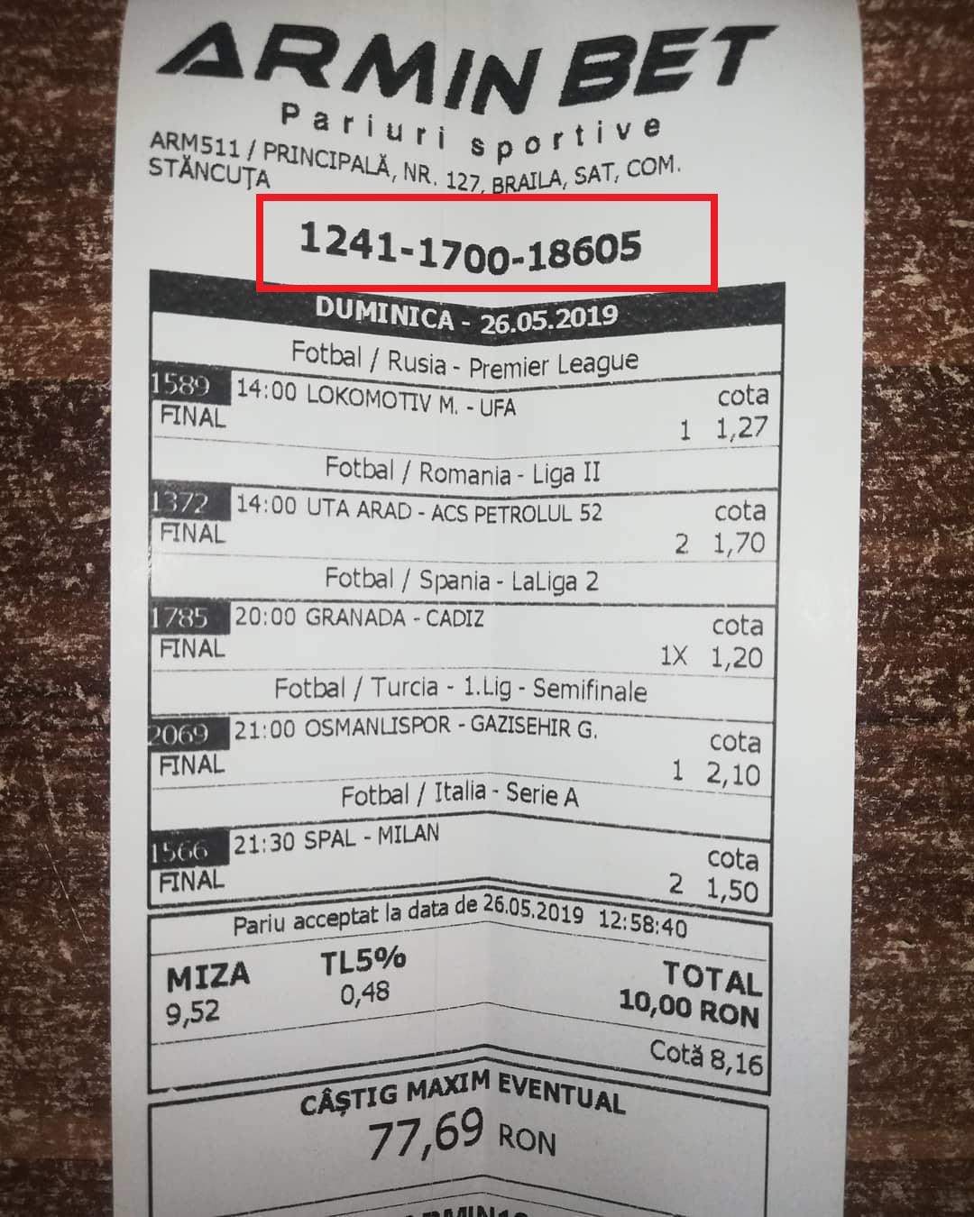 verificarea biletului la armin bet