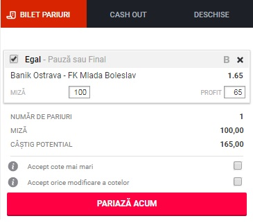 pont pariuri Ostrava vs Mlada Boleslav