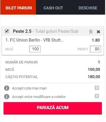 pont pariuri Union Berlin vs Stuttgart