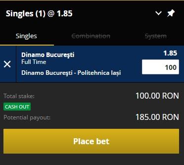 pont pariuri Dinamo vs Poli Iasi