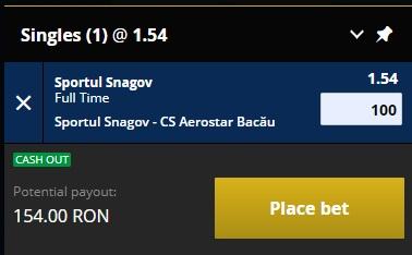 pont pariuri Sportul Snagov vs Aerostar Bacau
